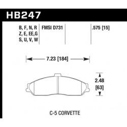 Jeu de plaquettes de frein HPS Hawk HB247F.575 - Corvette 97-13