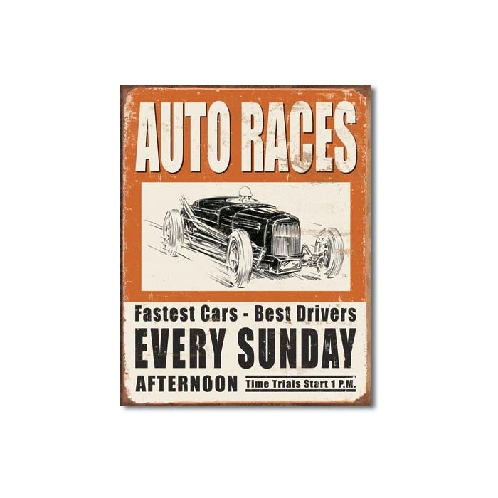 Plaque déco Vintage Auto Races