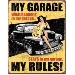 Plaque déco My Garage My Rules