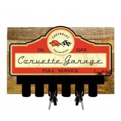Porte-clés mural en bois Corvette Garage